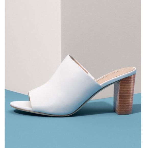 white open toe mule heels